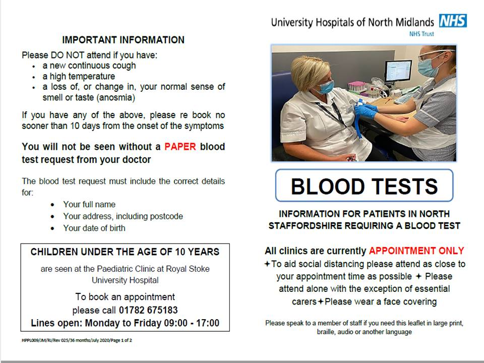 Blood tests - all clinics are currently by appointment only.